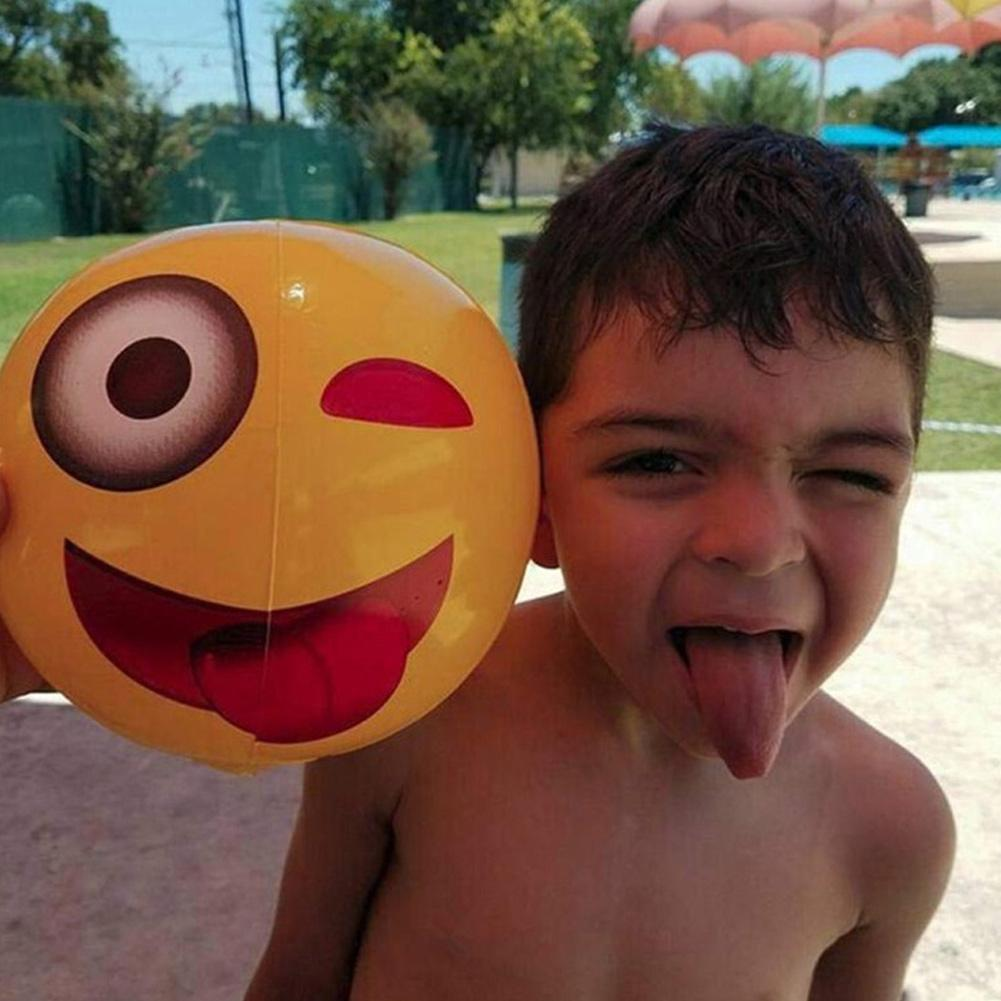 12inch Emoji Pvc fashion Ball Inflatable Beach Toy Ball