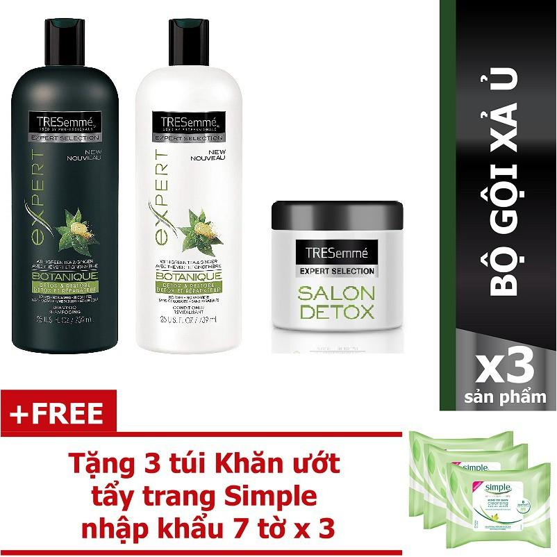 Bộ Tresmeme Detox dầu gội 340G + dầu xả 340G + ủ tóc180ML Tặng 03 khăn tẩy trang và 3 mặt nạ giấy Innisfree