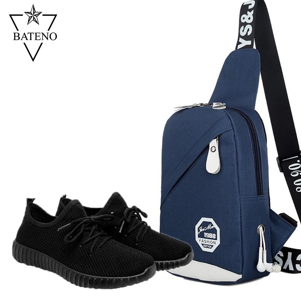 Combo Giày Thể Thao Sneaker BTN31 Đen + Túi Đeo Chéo Thời Trang Xanh