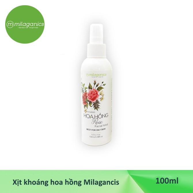 Xịt khoáng hoa hồng Milaganics cấp ẩm, kiềm dầu 100ml