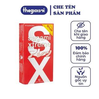 Bao cao su Sagami Feel Long 1 hộp 12 bcs gai nhỏ siêu mỏng không mùi nhiều gel bôi trơn có che tên - thegioisoi thumbnail