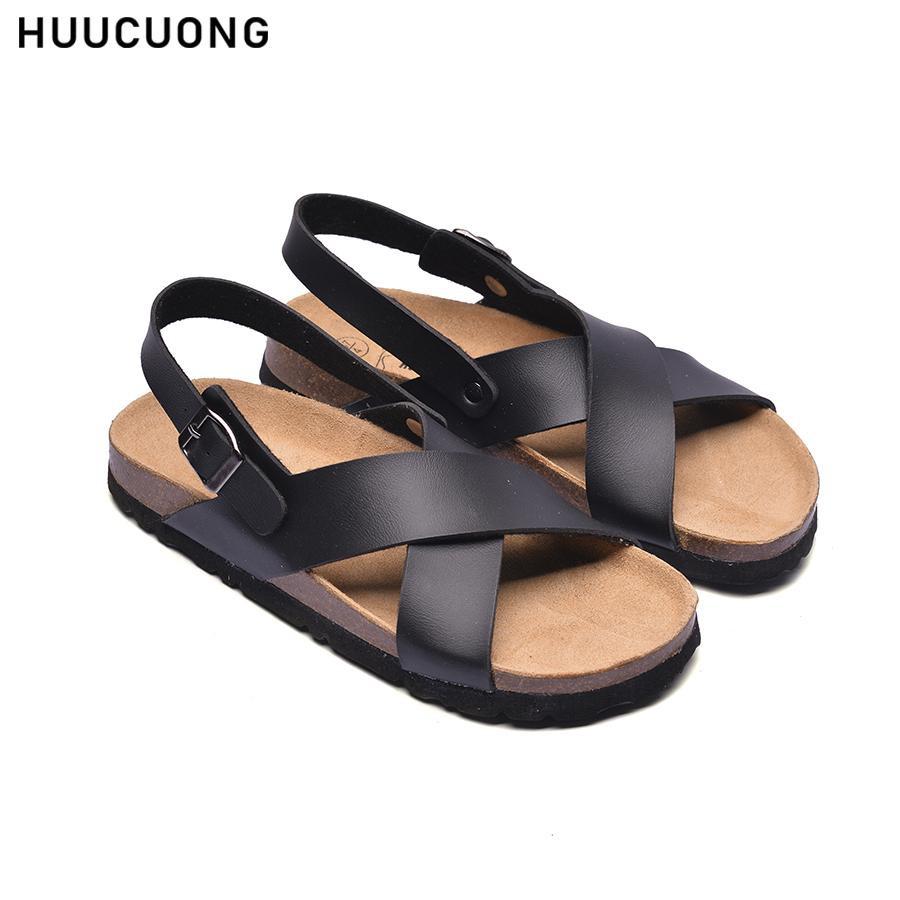 Giày Sandal Quai Chéo HUUCUONG Quai Da Pu Màu Đen Đế Trấu [FLASH SALE - Hàng Chính Hãng]