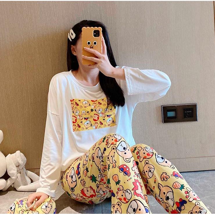 Mặc gì đẹp: Gọn tiện với Đồ bộ pijama ngủ nữ dài tay mặc ở nhà cute dễ thương xuất Hàn
