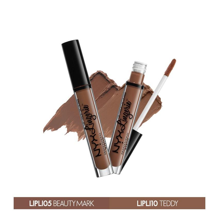 Bộ 2 son kem lì NYX Lingerie Liquid Matte Lipstick Beauty Mark & Teddy