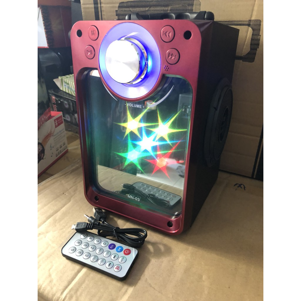 Loa karaoke MN03 có đèn led mặt gương kèm mic có dây nghe tuyệt hay