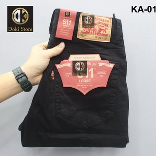 Quần Kaki Nam Cao Cấp Màu Đen KA-01, Quần bò nam dáng ôm, chất vải co giãn thoải mái – Doki Store