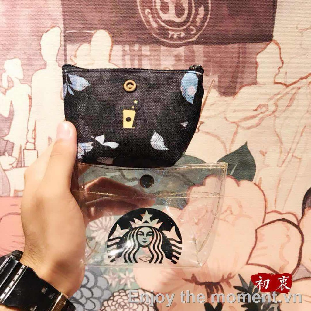 ▪☽﹍Starbucks 2019 Goddess Fish Scale Autumn Leaves Image Colorful Black and White Keychain Going Out Coin Purse Without Star Gift Card