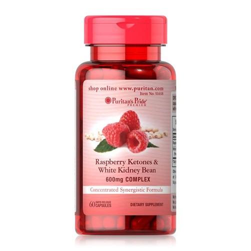 Viên uống hỗ trợ giảm cân Raspberry Ketones and White Kidney Bean 60 viên Puritan's Pride