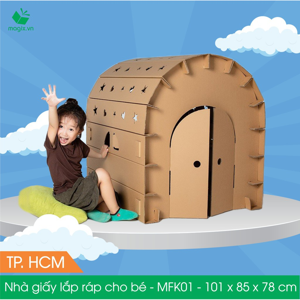 Nhà giấy carton lắp ráp cho bé – Nhà carton cho bé – 100x84x78 cm