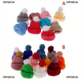 LEFT 10Pcs 3.5CM Mixed Woolen Yarn Mini Hat Cap Headwear Garment Doll Craft Materials VN