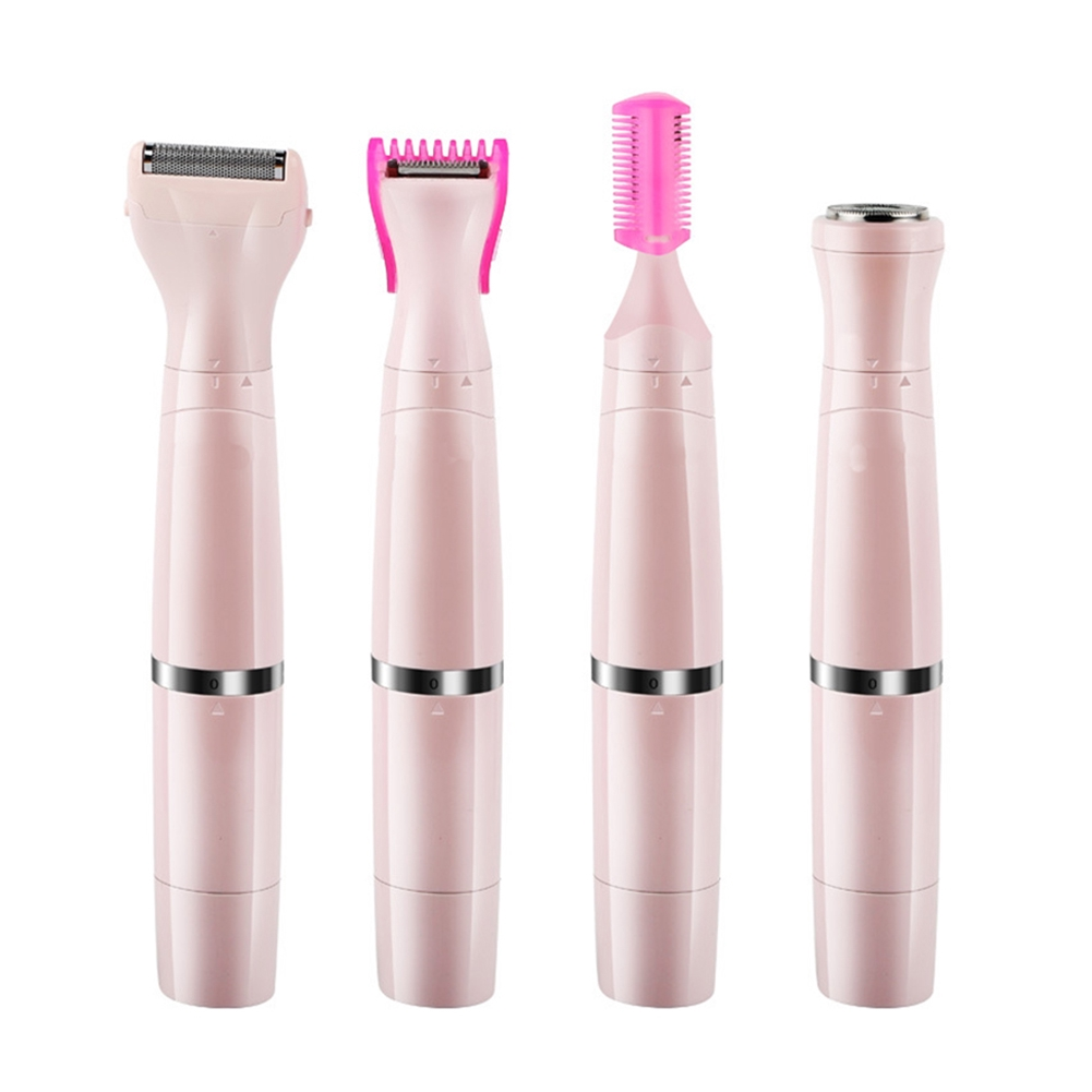 Women Waterproof Rechargeable Trimming Shaving Underarm Leg Body Massage Electric Epilator Hair Removal Tool 4 In 1