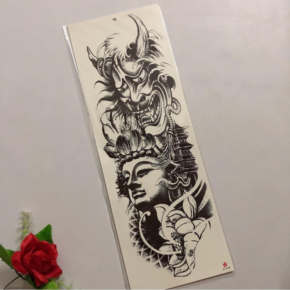 Hình xăm dán cao cấp kín tay mặt quỷ sen trắng đen 17x48cm- tặng bắp tay xinh 15x21cm khi mua từ 2 tấm kín tay bất kì