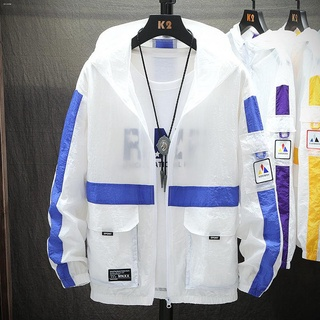 ♤✗Men s Sunscreen Super Thin breathable jacket, and handsome, summer ice silk tide brand youth trend clothing