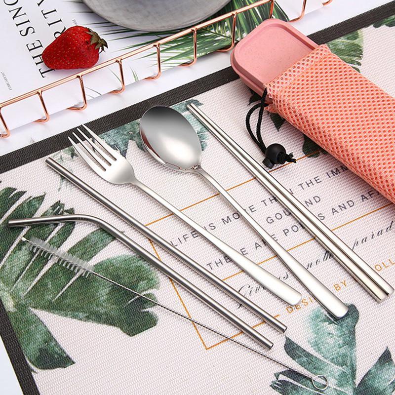 bộ 6 muỗng, nĩa, đũa bằng thép không gỉ tiện lợi