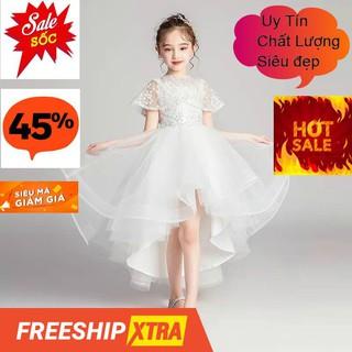 Đầm ren trắng đuôi choàng vai cao cấp