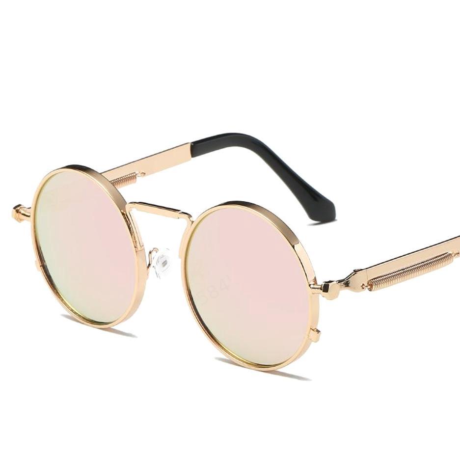 Women Retro Punk Round Metal Frame Colorful Lens Sun Glasses Fashion Eyewear Men Sunglasses