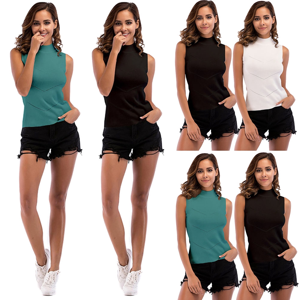 Casual Charming Slim Fit Turtle Neck Sleeveless Fashion Solid Summer Women T-shirt - 13974583 , 2602332980 , 322_2602332980 , 164000 , Casual-Charming-Slim-Fit-Turtle-Neck-Sleeveless-Fashion-Solid-Summer-Women-T-shirt-322_2602332980 , shopee.vn , Casual Charming Slim Fit Turtle Neck Sleeveless Fashion Solid Summer Women T-shirt