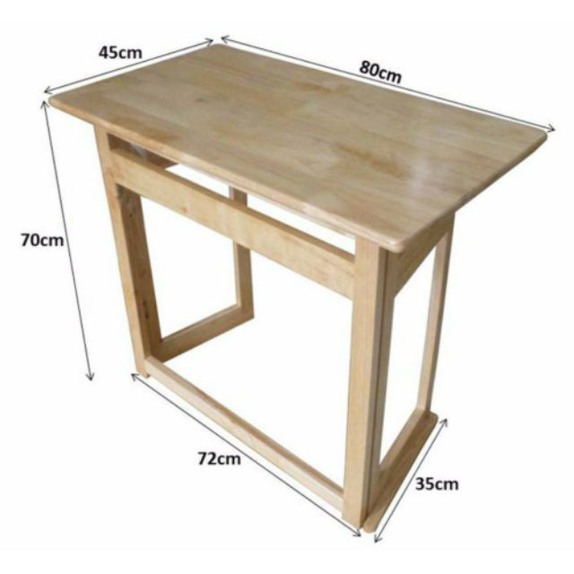 Bàn làm việc bằng gỗ chân xếp gọn - Bàn học chân xếp cao 70cm
