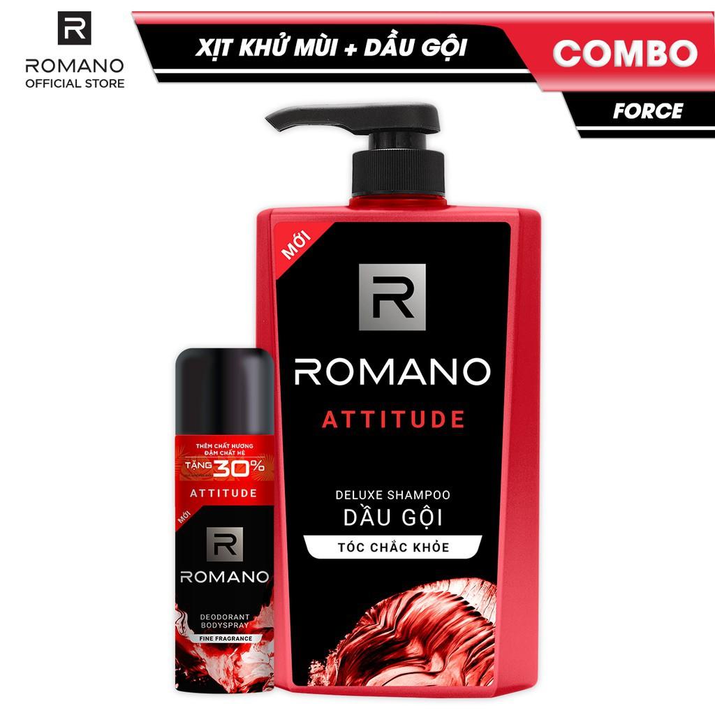 Combo Romano Attitude: Xịt toàn thân lịch lãm ngăn mồ hôi mùi cơ thể 195ml và dầu gội cao cấp tóc chắc khỏe 650g - 15151469 , 2684052739 , 322_2684052739 , 390000 , Combo-Romano-Attitude-Xit-toan-than-lich-lam-ngan-mo-hoi-mui-co-the-195ml-va-dau-goi-cao-cap-toc-chac-khoe-650g-322_2684052739 , shopee.vn , Combo Romano Attitude: Xịt toàn thân lịch lãm ngăn mồ hôi m