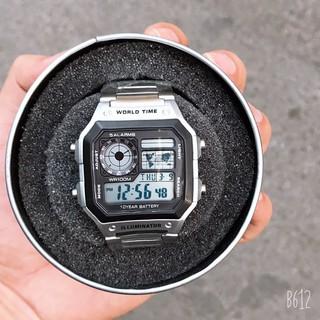 Đồng hồ nam Casio AE 1200-WHD classic chống nước , dây thép không gỉ (dây bạc mặt đen) + TẶNG KÈM HỘP THIẾC thumbnail