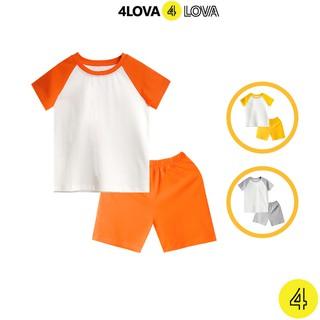 Bộ quần áo cộc tay phối màu tay cho bé 4LOVA mùa hè chính hãng từ 8 - 44kg