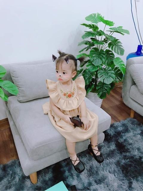 Giày búp bê bé gái, Giày cho bé gái phong cách Hàn Quốc hàng chính hãng BM Baby da mềm đế chống trơn cho bé V369