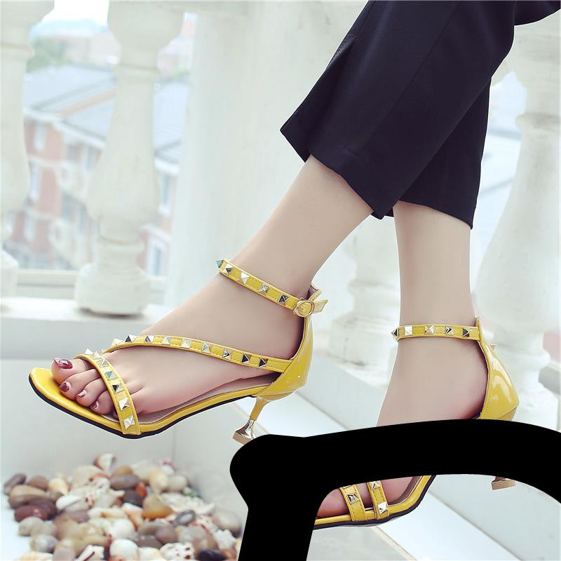 Sandals female summer wild cat with rivets stiletto buckle with small fresh girl