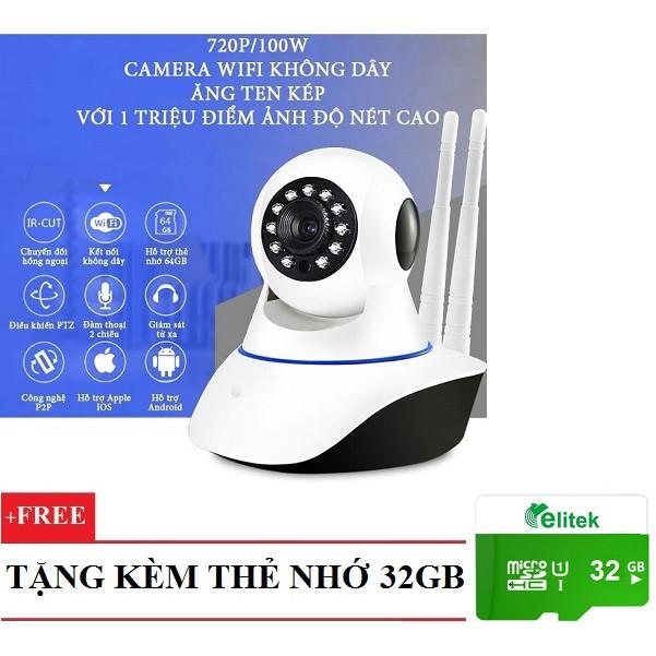 Camera IP Wifi Giám Sát Xoay 360 độ + Thẻ 32GB