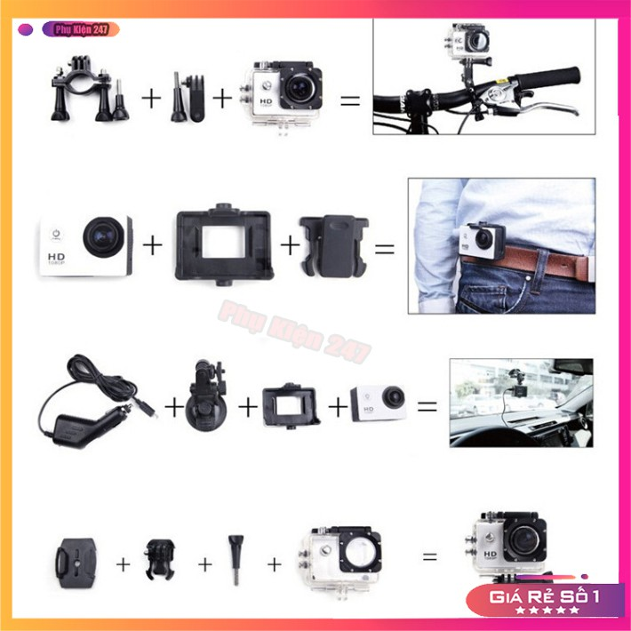 Camera Hành Trình💥Freeship💥Giảm 40k Khi Nhập [CAMERA MINI] - Camera Hành Trình Thể Thao Chống Nước Full HD 1080P