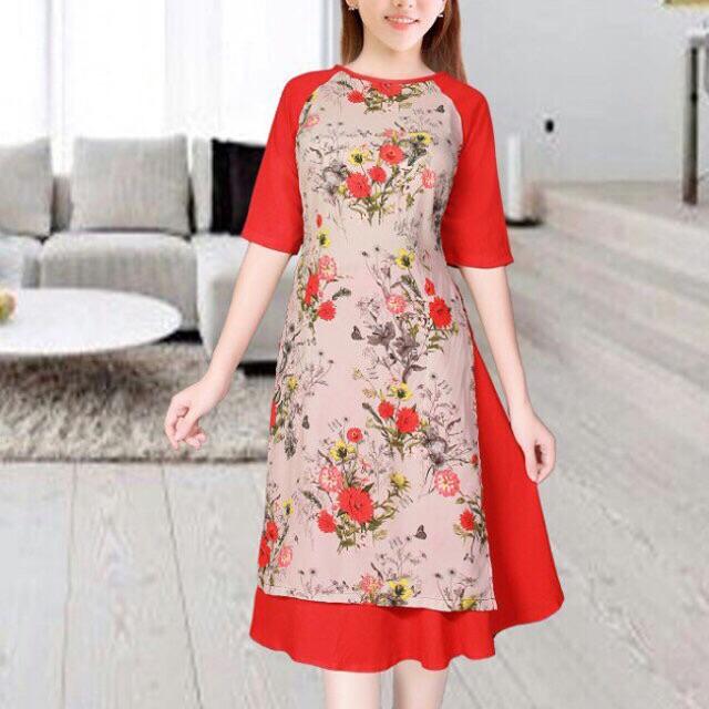 Set áo dài cách tân hoa kèm váy xoè bao đẹp size m l xl
