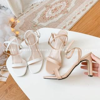 (Q65) Sandal cao gót quai mảnh 💗 HÀNG CHẤT LƯỢNG 💗 Chất liệu da lì mềm mịn, gót cao bản dẹt chắc chân dễ phối đồ