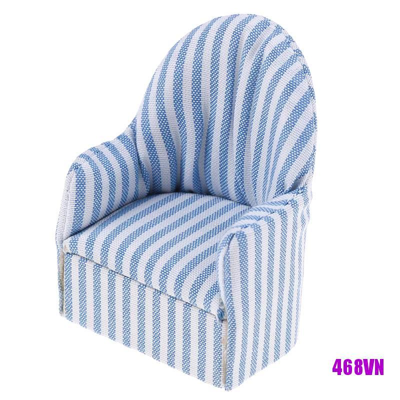 [DOU]1:12 dollhouse miniature furniture stripe sofa chair for bed room living room