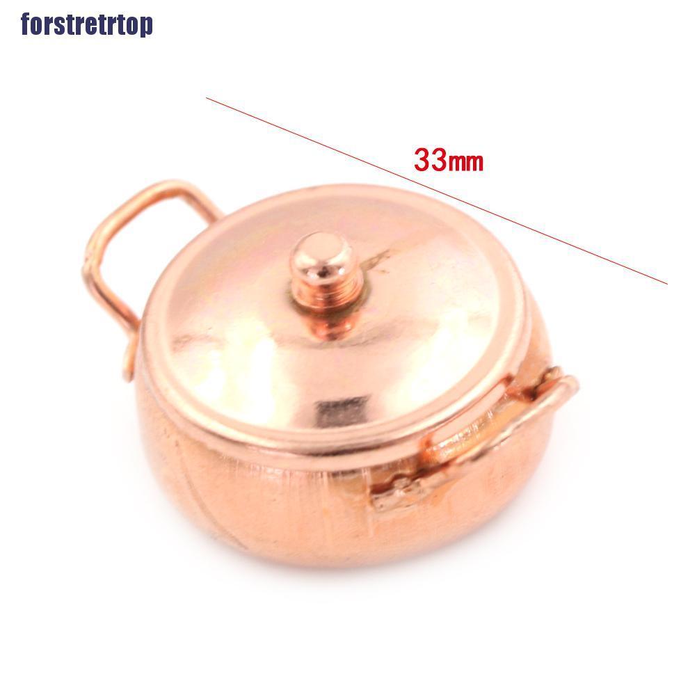 【FSTTTOP】1:12 Miniature Cookware Toy Dollhouse Kitchen Metal Pan Stockpot Deco