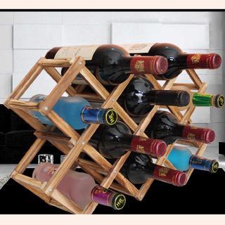 Kệ Gỗ Đựng Chai Rượu Vang 10 Ngăn Kiểu Dáng Cổ Điển