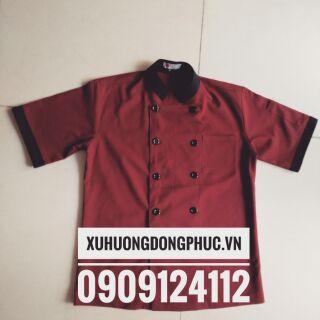 Áo bếp tay ngắn đỏ đô phối đen kate silk