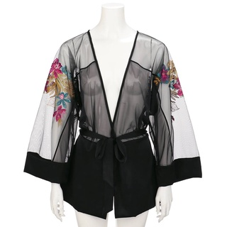 Áo khoác ngủ Triumph Essence Kimono màu đen thumbnail