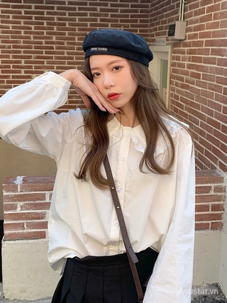 Spring Korean-Style2021New Loose and Lazy Style Simple Solid Color Single-Breasted Doll Collar Long Sleeve Shirt Top Women