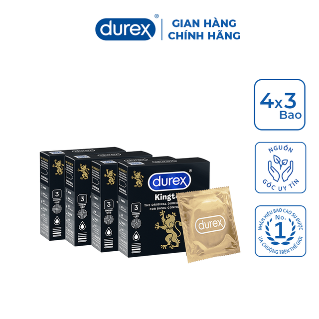 Bộ 4 bao cao su Durex Kingtex 3 bao/hộp