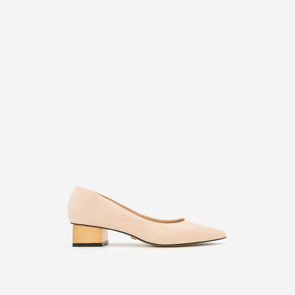 Vascara - Giày bít mũi nhọn gót vuông - BMN 0305 - Màu Be