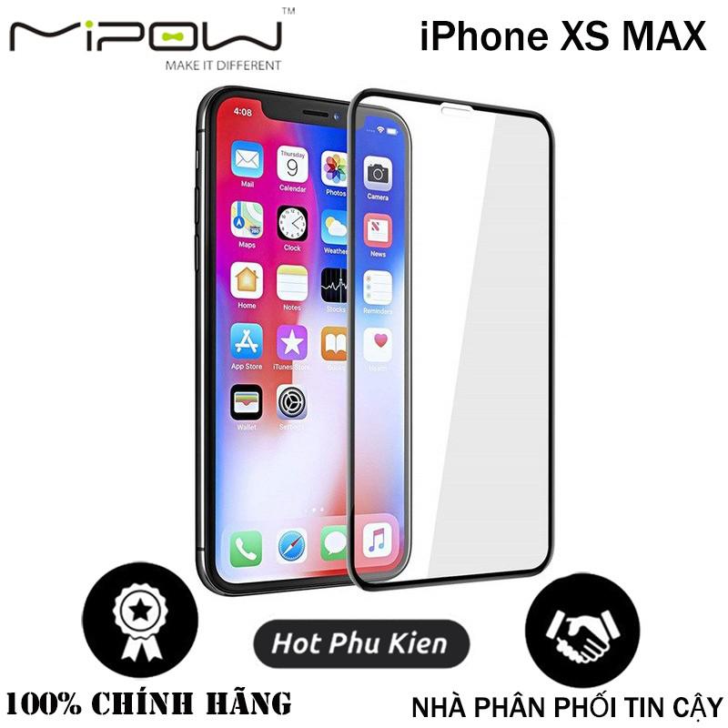 Miếng dán kính cường lực Mipow KingBull cho iPhone XS MAX (Vát kim cương, mỏng 0.23mm, chống nổ, bảo vệ mặt) - Hàng chính hãng