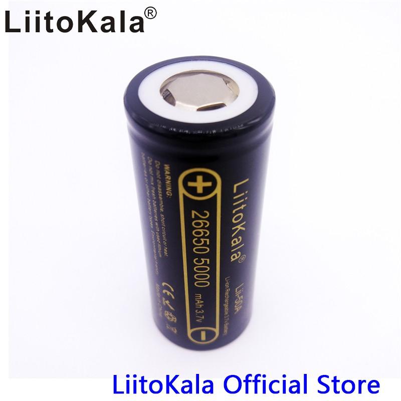 [P50] Pin sạc Liitokala Engineer Lii-50A 3.7 V 26650 5000 mah Dung Lượng Cao 26650-50A Li-Ion cho đèn pin