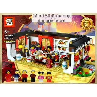 Lắp ráp xếp hình NOT Lego 80101, Lepin 46001 Bela 11142 SY1260 : Bữa Tối Đêm Giao Thừa, tiệc đoàn viên trung thu 657+