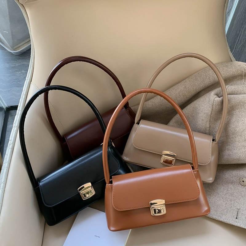 Túi xách đeo vai màu trơn có khoá phong cách Hàn Q