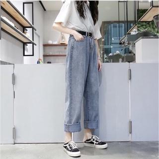 Quần jeans baggy nữ trơn ống suông,rộng style hàn quốc hot 2021