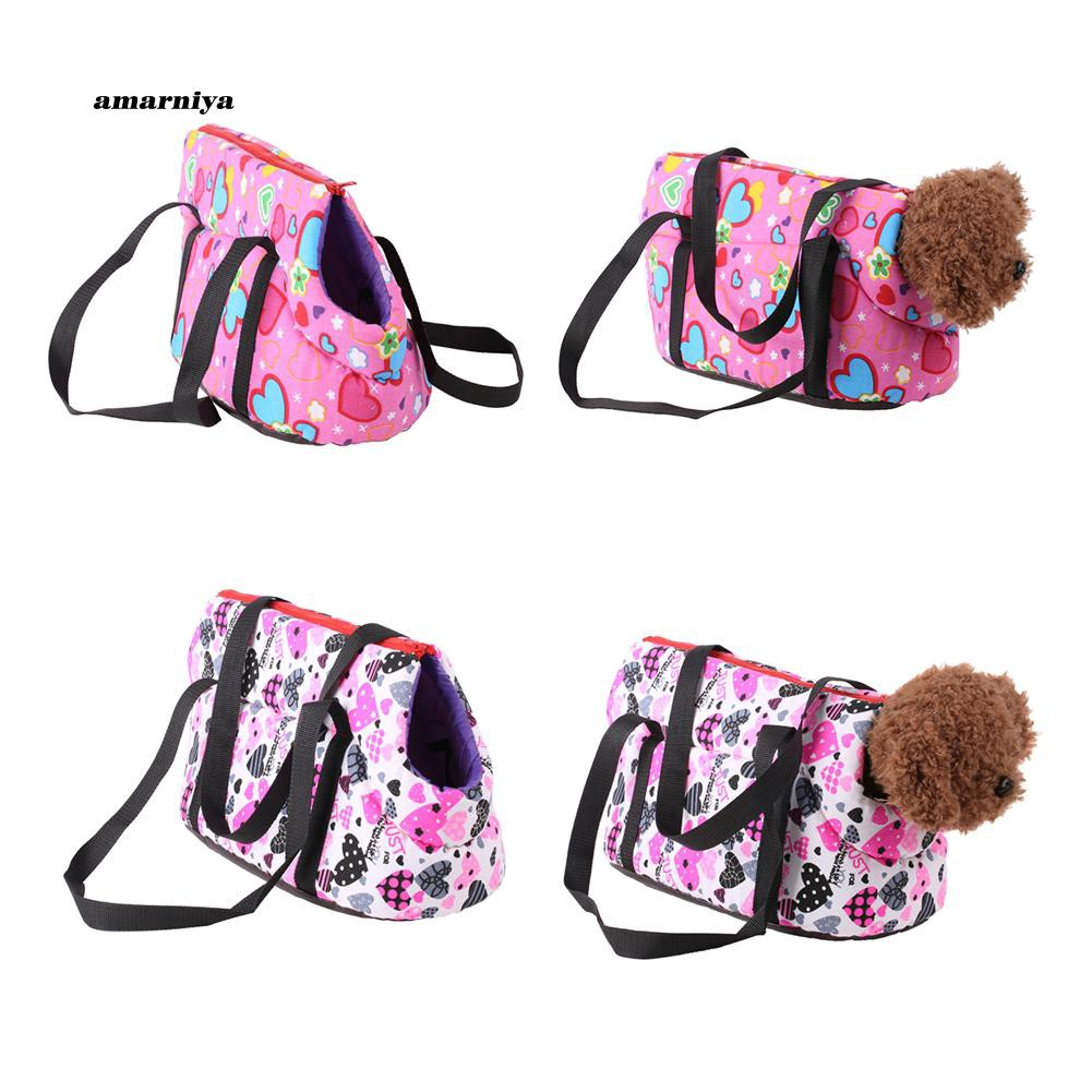 AMA♥Fashion Heart Print Pet Dog Shoulder Carrier Puppy Cat Outdoor Travel Tote Bag