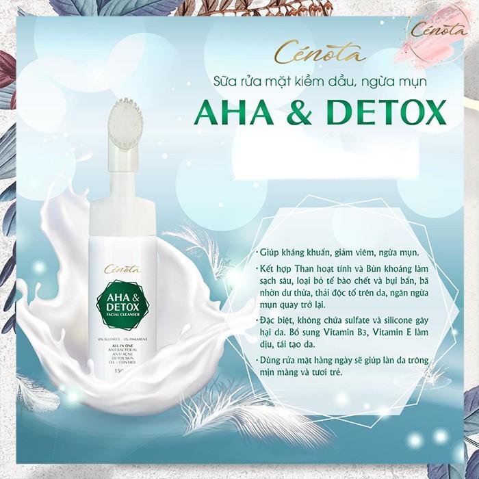 Sữa rửa mặt AHA Detox 150ml, sữa rửa mặt giúp tạo bọt, kiềm dầu, ngăn ngừa mụn hiệu quả - mã C04 - Freeship