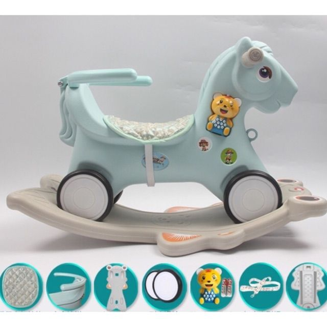 Ngựa bập bênh chòi chân 2in1 có đèn nhạc…(sẵn hàng)