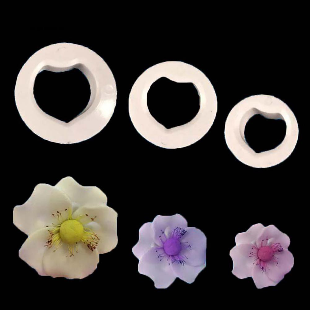 TM♥3Pcs Rose Flower Petal Cake Mold DIY Fondant Biscuit Cutter Baking Mould Tool