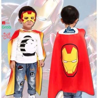 Áo choàng siêu nhân cho bé trai hóa trang siêu anh hùng người sắt ironman kèm mặt nạ che mắt hm03617