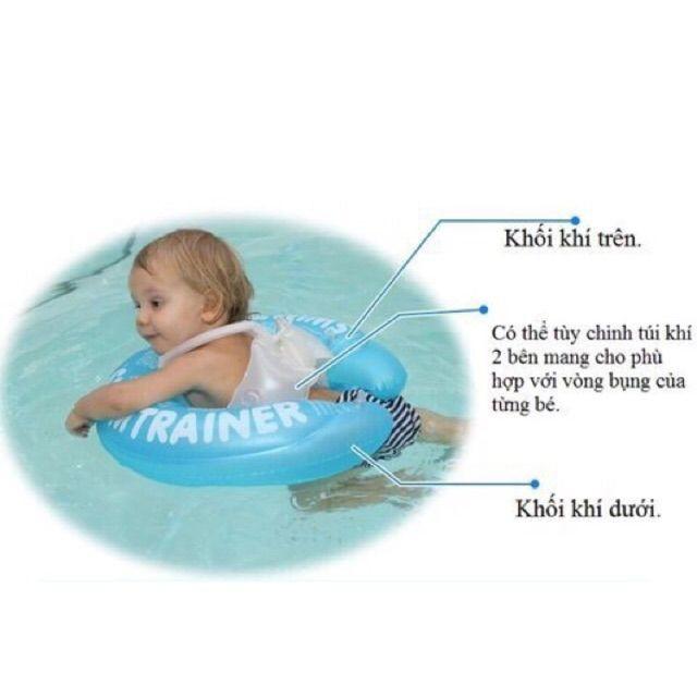 Phao tập bơi có đai chống lật bảo vệ an toàn cho bé(hồng.xanh)
